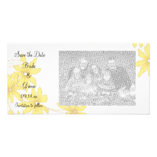Yellow Daisies Wedding Save the Date Personalised Photo Card