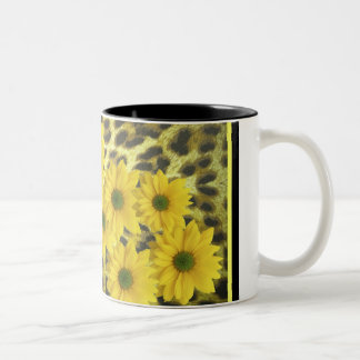 YELLOW DAISIES WITH LEOPARD PRINT Two-Tone COFFEE MUG