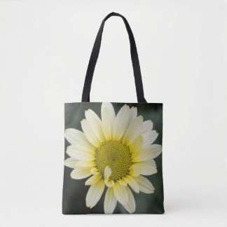 Yellow daisy and emerald green tote bag