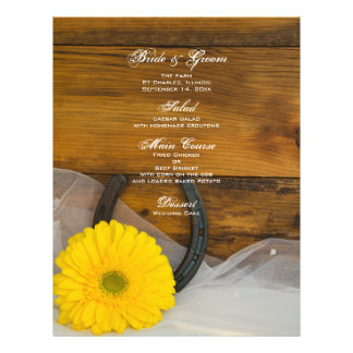 Yellow Daisy and Horseshoe Country Wedding Menu 21.5 Cm X 28 Cm Flyer