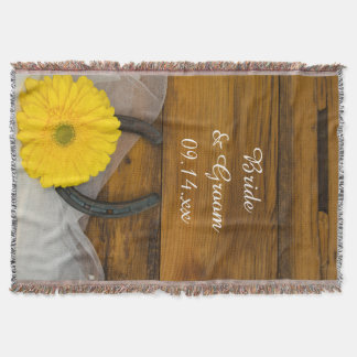 Yellow Daisy and Horseshoe Country Western Wedding Throw Blanket