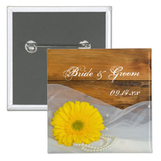 Yellow Daisy and Pearls Country Barn Wedding 15 Cm Square Badge