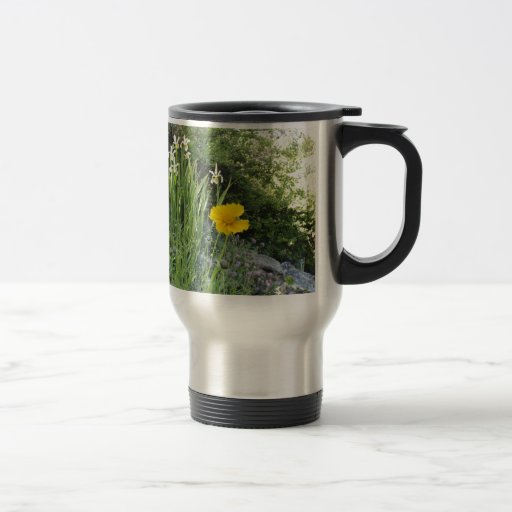 Yellow Daisy And White Irises Mug