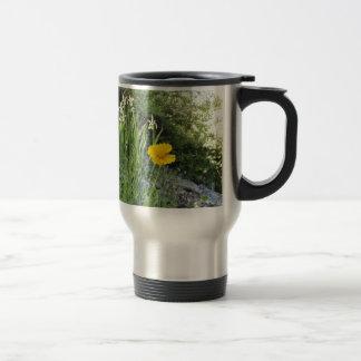 Yellow Daisy And White Irises Stainless Steel Travel Mug