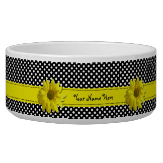 Yellow Daisy Black and White Polka Dots