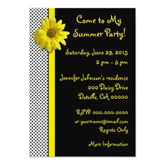 Yellow Daisy Black and White Polka Dots 13 Cm X 18 Cm Invitation Card