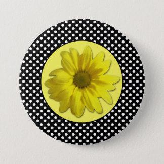 Yellow Daisy Black and White Polka Dots 7.5 Cm Round Badge