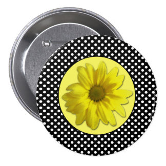 Yellow Daisy Black and White Polka Dots 7.5 Cm Round Badge