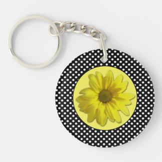 Yellow Daisy Black and White Polka Dots Double-Sided Round Acrylic Key Ring