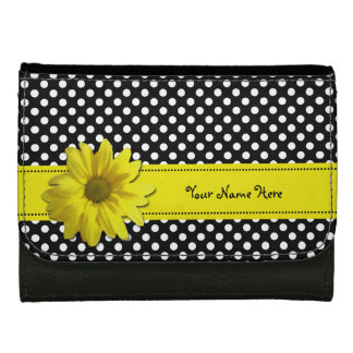 Yellow Daisy Black and White Polka Dots Women's Wallet