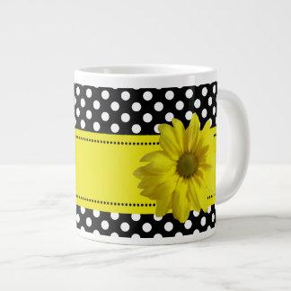 Yellow Daisy Black and White Polkadots Jumbo Mug