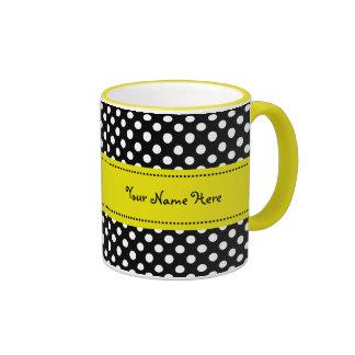 Yellow Daisy Black and White Polkadots Coffee Mug