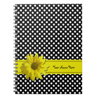 Yellow Daisy Black and White Polkadots Spiral Notebook