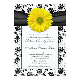 Yellow Daisy Black White Floral Wedding Invitation