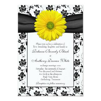 Yellow Daisy Black White Floral Wedding Invitation