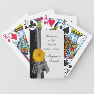 Yellow Daisy Black White Polka Dots Wedding Bicycle Playing Cards