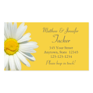 Yellow Daisy Bride & Groom Change of Address Cards Business Card Templates