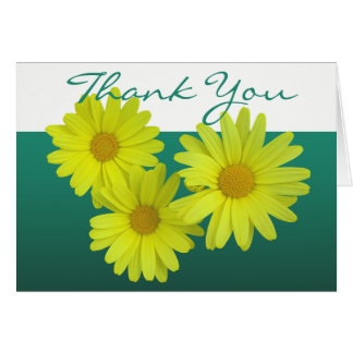 Yellow Daisy Colourful Photo Chic Floral Thank You Card