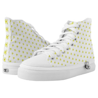 Yellow Daisy Floral Motif High Top Shoes