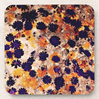 Yellow daisy flower floral pattern digital art drink coaster