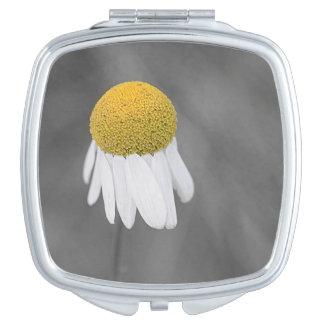 Yellow daisy flower makeup mirror