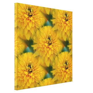 Yellow Daisy Flower Nature Pattern Gallery Wrapped Canvas