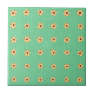 Yellow Daisy Flower Pattern on Green Tile Trivet