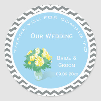 Yellow daisy flowering bouquet  thank you wedding round stickers
