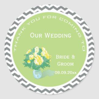 Yellow daisy flowering bouquet  thank you wedding stickers
