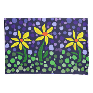 Yellow Daisy Flowers Abstract Art Pillow Cases