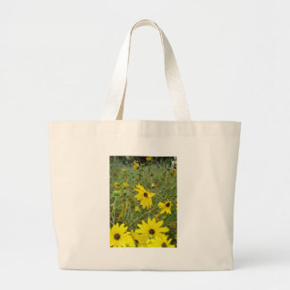yellow daisy flowers in a field jumbo tote bag
