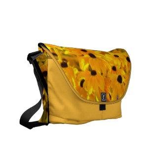 Yellow Daisy Fractal Art Painting Messenger Bag