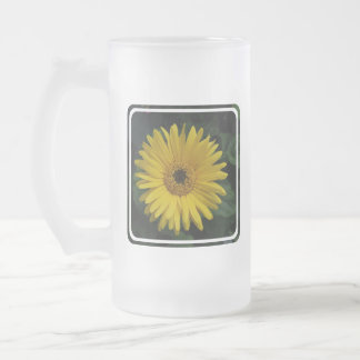 Yellow Daisy Frosted Beer Mugs