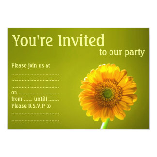 "Yellow Daisy Gerbera Flower 5"" X 7"" Invitation Card"
