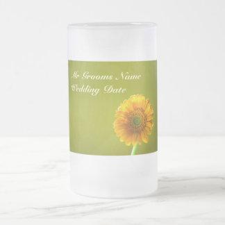 Yellow Daisy Gerbra Flower Grooms Wedding Glass Mug