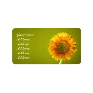 Yellow Daisy Gerbra Flower Wedding Address Label