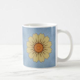 Yellow Daisy on blue background Basic White Mug