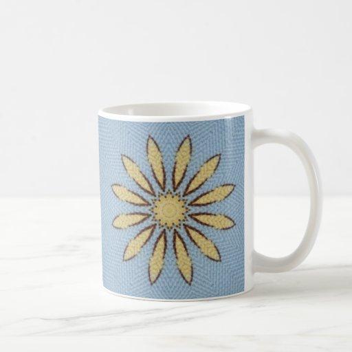 Yellow Daisy on blue background Mug