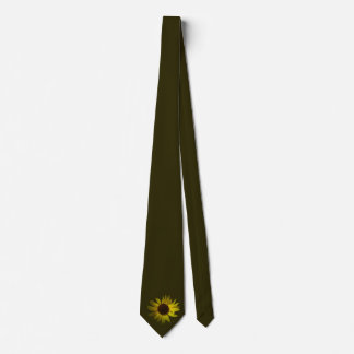 Yellow Daisy on Dark Green Tie
