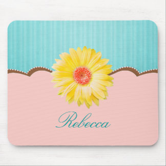 Yellow Daisy on Pink & Teal Personalized Mousepads