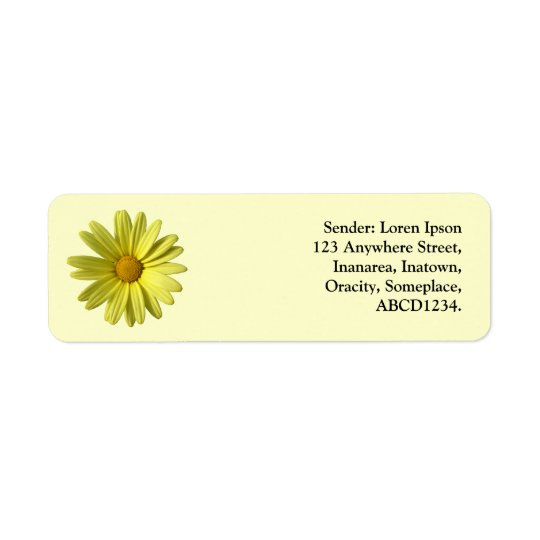 Yellow Daisy Return Address Label