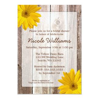 "Yellow Daisy Rustic Barn Wood Bridal Shower 5"" X 7"" Invitation Card"