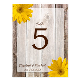 Yellow Daisy Rustic Barn Wood Wedding Table Number Postcard