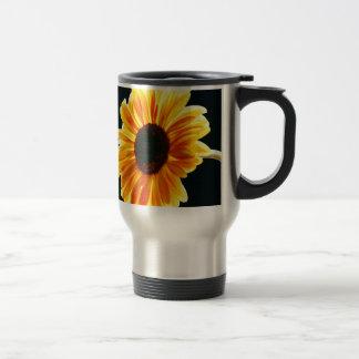 yellow daisy stainless steel travel mug