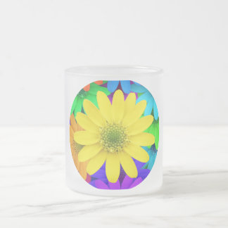 Yellow Daisy Surrounded by Colorful Daisy's Frosted Glass Mug