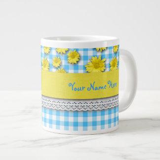 Yellow Daisy Turquoise White Gingham Jumbo Mug