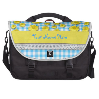 Yellow Daisy Turquoise White Gingham Commuter Bags