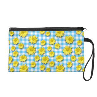 Yellow Daisy Turquoise White Gingham Wristlets