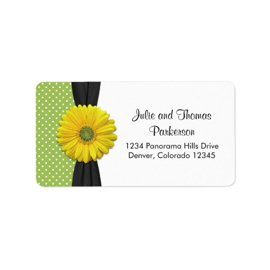 Yellow Daisy Wedding Address Label