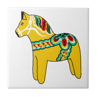 Yellow Dala Horse Small Square Tile